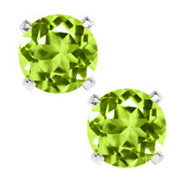 1.00 Ct Round 5mm Green Peridot 925 Sterling Silver Stud Earrings