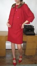 VTG Dress & Jacket Red with Faux Fur Collar wiggle skirt by Marty G 60s Jackie o