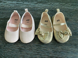 2 Pair H&M Baby Girl Ballerina Flats Gold Shimmer Foil & Pink Shoes 2.5-3.5