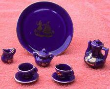 Cobalt Blue Porcelain Miniature Tea Set 10 Pc