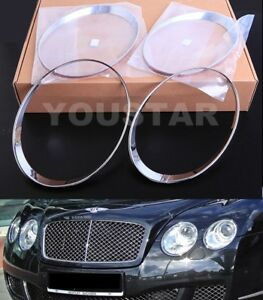 FAST DHL Set CHROME SPEED Head Light Trims for Bentley Continental GT GTC 03-11