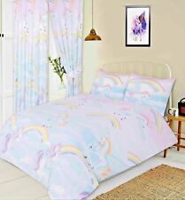 Girls Rainbow Clouds Mystical Unicorns Kids Fun Duvet Cover Bed Set or Curtains Single