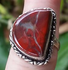 Vintage Ring Sterling Silver Bracciated Jasper Size N 1/2 Jewellery Jewelry Red