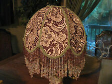 "Victorian French Med Lamp  Shade Venetian Lace ""Slipper Pink"" Bead Fringe Look!"