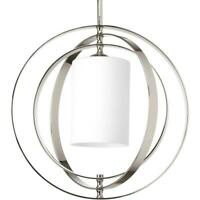 Progress Lighting Equinox 1-Light Polished Nickel Pendant with Opal Etched Glass