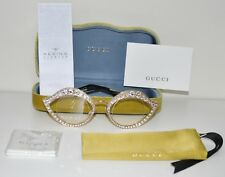 Gucci Cat Eye Lips Gold Swarovski Crystals Metal Sunglasses GG4287S 0046 NEW