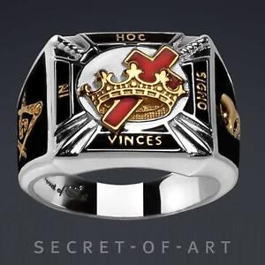 Knights Templar Ring Masonic Silver 925 Freemason jewelry Gold-Plated Size 8-13