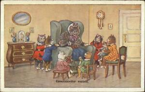 Dressed Cat Family Fantasy - Kids Listen to Grandmother c1915 Postcard