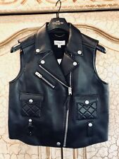 Women's Coach Black Leather Quilted Leather Zip Front Biker Moto Vest, NWT, LG.