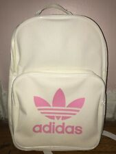 Adidas Originals Classic Trefoil Backpack White With Pink Logo
