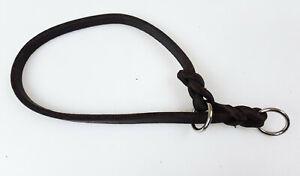 Fettleder Halsband max. Kopfumfang 35cm x 8mm Chromringe Dunkelbraun geflochten