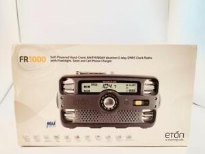 Eton FR1000 Hand-Crank AM FM Clock Radio Hiking Camping New Open Box