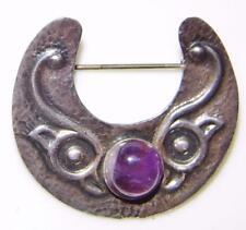 Irish Sterling Silver Celtic Lunula Brooch Hall Mark 1923 Amethyst Cabochon