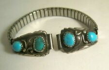 Vtg Signed RB ROBERT BECENTI? NAVAJO STERLING SILVER TURQUOISE WATCH TIPS BAND
