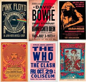 RARE Rock Band Posters, Concert Tour Print, A5 A4, A3, A2, A1