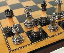 "Staunton Chrome & Black Pro Plastic Chess Men Set W 18"" Gloss Walnut Color Board"