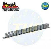 "Teng 16pc 3/8"" 6 Point Socket Clip Rail Set Regular Metric 7-22mm M3816"