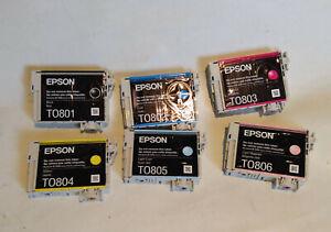 6x EPSON INK CARTRIDGES EMPTY/USED - T0801, T0802 T0803, T0804, T0805, T0806