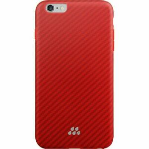 "IPHONE 6+ ,6S+ (5.5"") Evutec Karbon Series Sleek Impact Proof Red Snap Case & TG"
