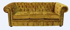 Chesterfield 3 Seater Modena Gold Velvet Fabric Sofa Settee