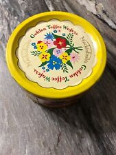 "Mackintosh's Yellow Empty Golden Toffee Wafers Vintage Tin England  5"" Wide"