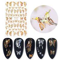 Holographics 3D Nail Sticker Gold&Silver Butterfly Nail Art Decal Decoration DIY