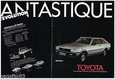 PUBLICITE ADVERTISING 105  1980  TOYOTA  COROLLA LIFT BACK ( 2p) FANTASTIQUE