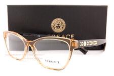 Brand New VERSACE Eyeglass Frames 3265 5289 Transparent Brown/Black For Women