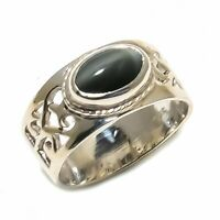 Black Cat'S Eye Natural Gemstone 925 Sterling Silver Ring Size 7 SR-703