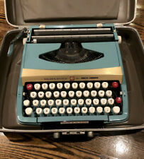 Rare Vintage Blue Gold Smith Corona Golden Shield Deluxe Manual Typewriter Case