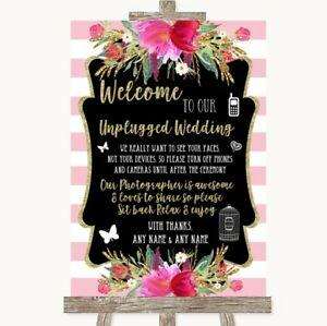 Wedding Sign Poster Print Gold & Pink Stripes No Phone Camera Unplugged
