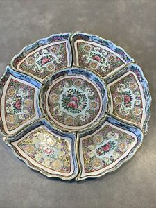 Lot of 7 Qing Dynasty Rose Medallion Chinese Famille Rose Condiment Lazy Susan