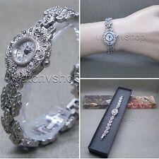 Silver Marcasite Watch Women Japan Quartz Brass Bracelet Stainless Steel back 08