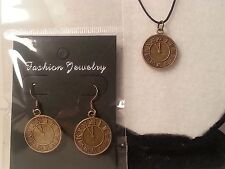 Bronze Tone Clock Earrings & Necklace Set Fashion Jewelry