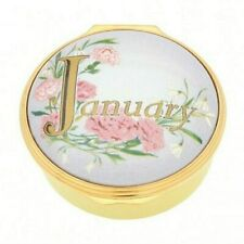 "Halcyon Days, ""January"" Memorable Milestone Enamel Round Box, Brand New In Box"