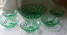 VINTAGE ART DECO GREEN GLASS FRUIT SET BAGLEY ?