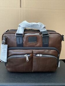 TUMI Men Alpha Bravo Albany Leather Briefcase Laptop Travel Bag 932640 Brown