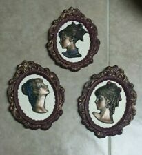 Vintage Victorian Ladies 3D Cameo Style women Chalk Wall Plaques set of 3