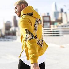 Mens Floral Hoodie Sweatshirt Sweater Hooded Tops Jacket Coat Pullover Oversize