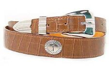 Golf Motif Tan Leather Belt With Fancy Buckle, Keeper & Tip Plus Oval Conchoes