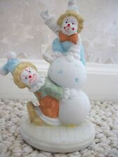 2 Clowns Ceramic Figurine playing atop a circus ball (#0441)
