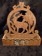 PRIMITIVE WOODEN WALL MOUNT SHELF STAG DEER CUT OUT HAND PAINTED VIOLETS