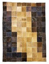 Cowhide Designer Patchwork rug, Bedside / Rare & Unique hair-on Leather rug