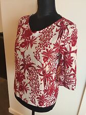 NWT Maje Top En Broderie Embroidered White Red Detailed Lace Blouse Shirt