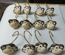 12 Metal/Resin Monkey Shower Curtain Hooks Great Condition