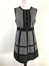 Anna Sui For Target Dress Sleeveless Grid Gray A-Line Juniors Size 9
