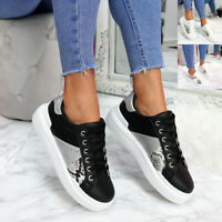 WOMENS LADIES CROC PATTERN SNAKE SKIN LACE UP SNEAKERS PLIMSOLLS TRAINERS SHOES