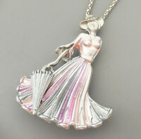 Betsey Johnson Enamel Crystal Umbrella Lady Pendant Long Necklace/Brooch