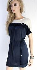 RINASCIMENTO Damen Kleid XS 34 36 Bindeband Netz Polyester navy weiß
