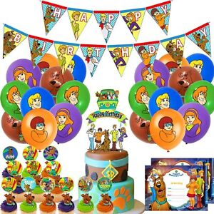 Nelton Birthday Party Supplies For Scooby Doo Includes Banner - Cake Topper - 24